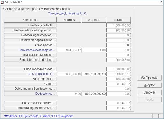 Cálculo RIC